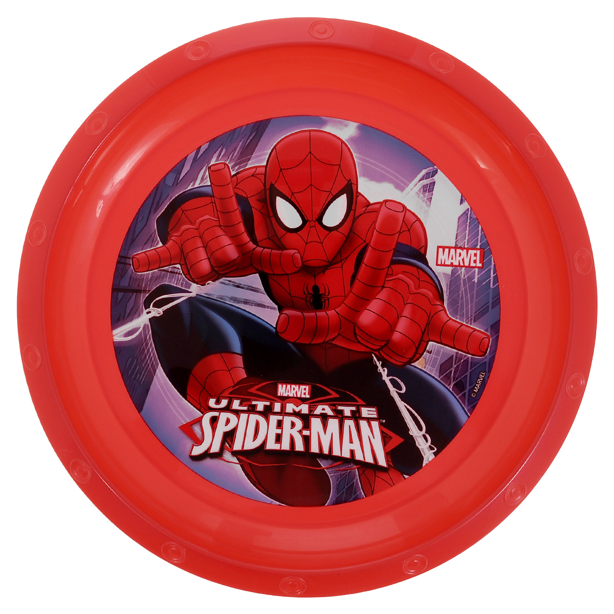"""Яркая тарелка Marvel """"Spider-Man"""", изготовленная из безопасного полипропилена красного цвета, непременно  понравится юному обладателю. Дно миски оформлено изображением супергероя - человека-паука из  одноименного мультсериала. Изделие очень функционально, пригодится на кухне для самых разнообразных нужд. Рекомендуется для детей от: 3 лет."""