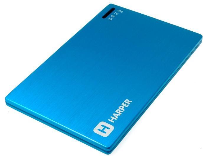 Harper PB-2000, Blue внешний аккумуляторPB-2000 blueУникальность модели заключается в сочетании компактных размерах и довольно большой емкости батареи аккумулятора. Толщина аккумулятора составляет всего 4,5 миллиметра. Легко умещается в заднем кармане брюк или даже в бумажнике. При этом объем заряда 2000 мАч. Этого достаточно для того чтобы полностью зарядить батарею большинства популярных среди пользователей смартфонов. А любители активного пользования мобильных устройств подтвердят, как важно иметь возможность вовремя подзарядить телефон.