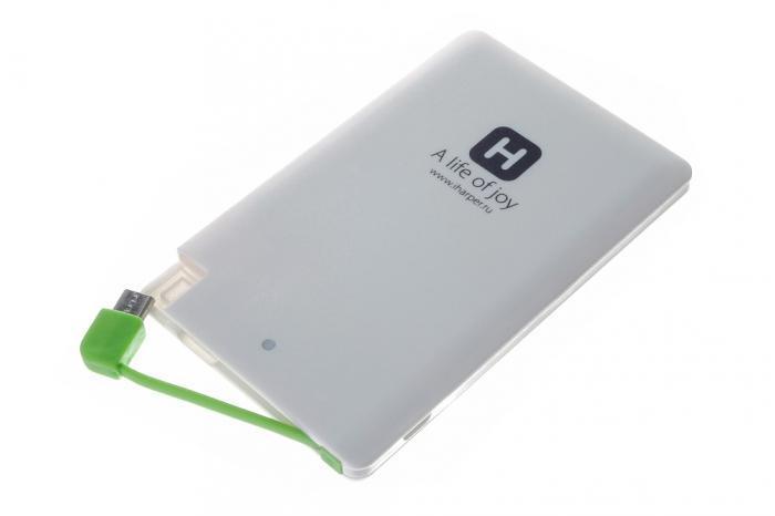 Harper PB-2601 внешний аккумуляторPB-2601Harper PB -2601 - мобильный внешний аккумулятор, предназначенный дляподзарядки таких устройств как телефон, плеер, планшет, цифровой камеры,электронная книга. Это устройство будет великолепным помощников в ситуации,когда вы находитесь вне дома, а у нужного устройства закончился заряд батареи.На корпусе устройства имеется световой индикатор, который будетсигнализировать о состоянии заряда внешнего аккумулятора.