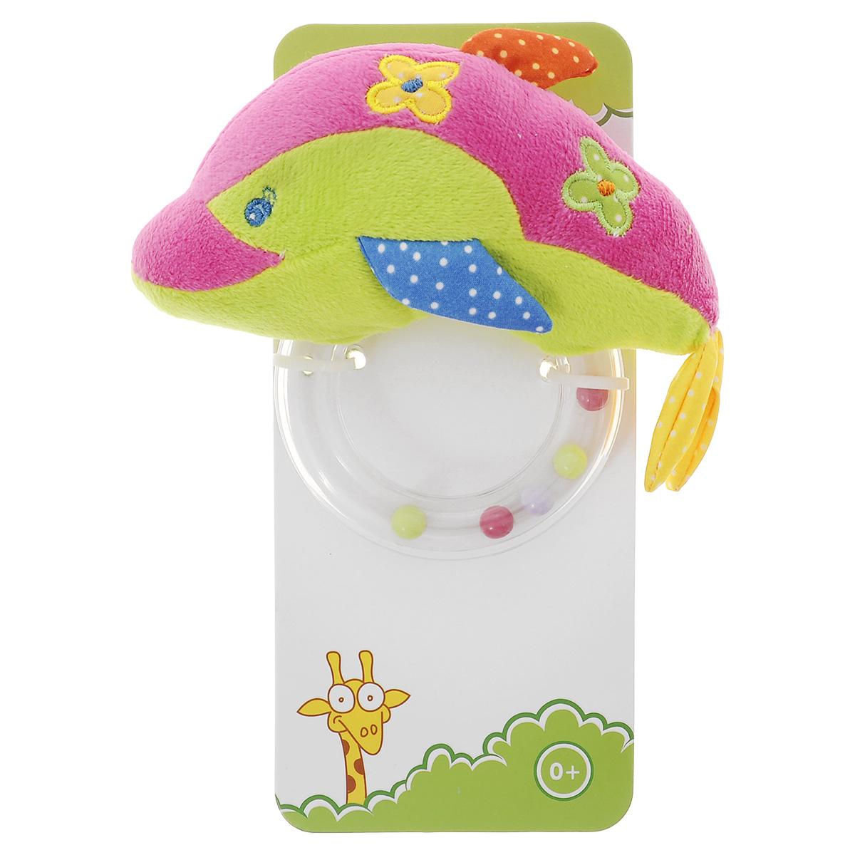 Развивающая игрушка Жирафики Дельфин-погремушка, цвет: малиновый, салатовый жирафики развивающая игрушка цветной мячик в ассорименте жирафики