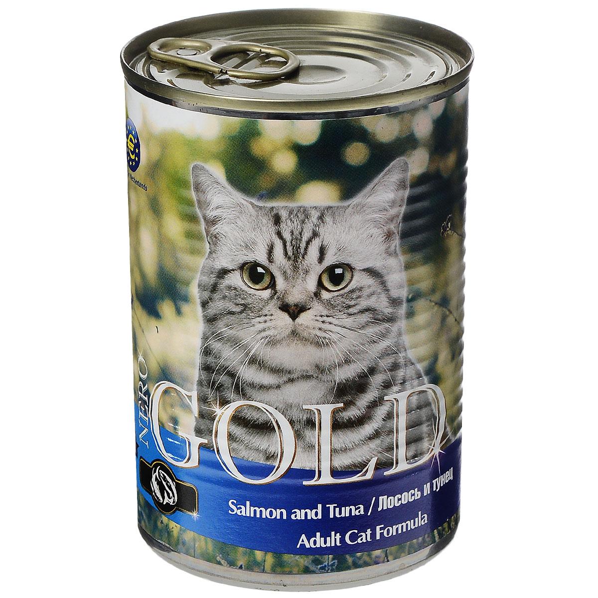 """Консервы для кошек """"Nero Gold"""", с лососем и тунцом, 410 г"""