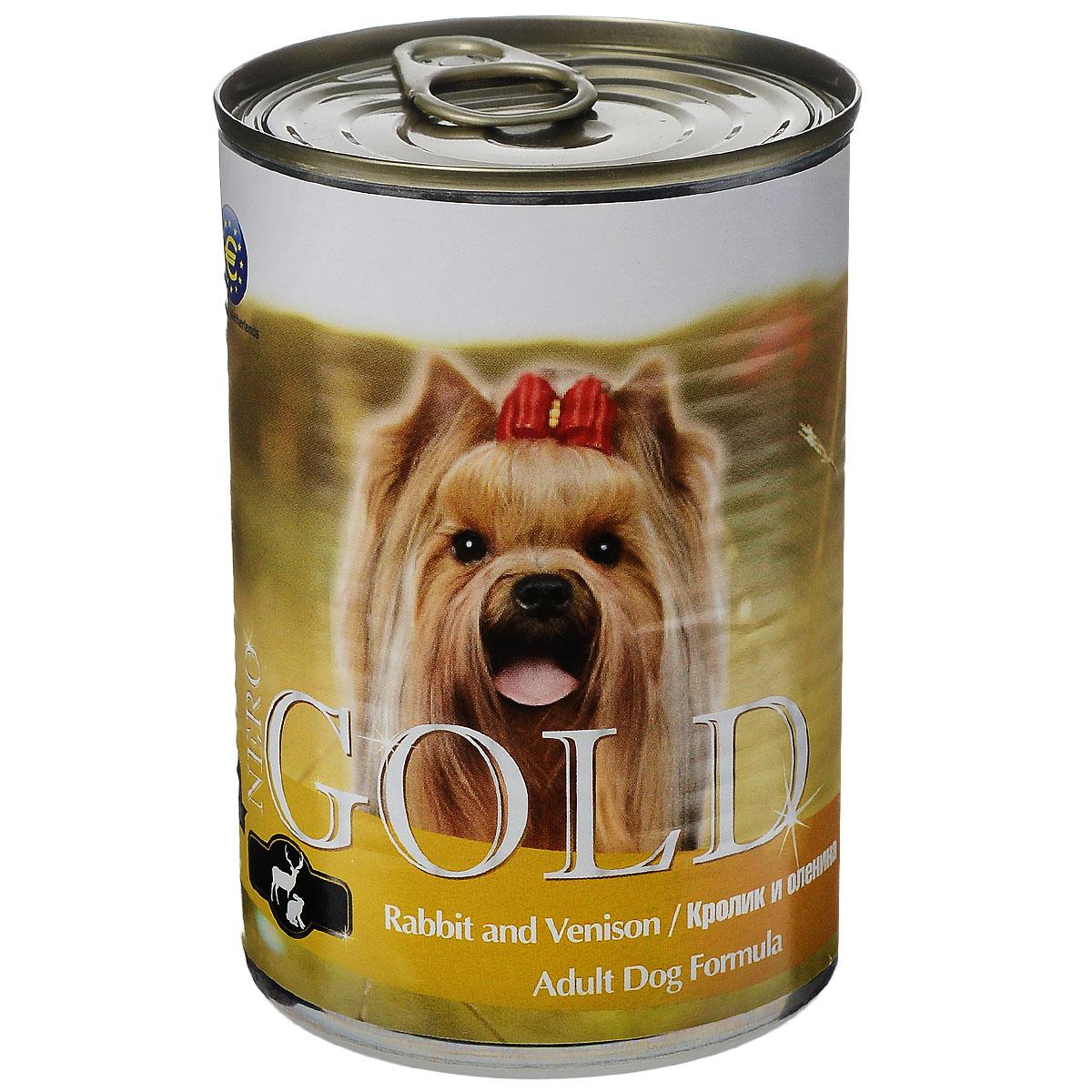 Консервы для собак Nero Gold, с кроликом и олениной, 410 г10320Консервы для собак Nero Gold - полнорационный продукт, содержащий все необходимые витамины и минералы, сбалансированный для поддержания оптимального здоровья вашего питомца! Состав: мясо и его производные, филе курицы, филе кролика, оленина, злаки, витамины и минералы. Гарантированный анализ: белки 6,5%, жиры 4,5%, клетчатка 0,5%, зола 2%, влага 81%. Пищевые добавки на 1 кг продукта: витамин А 1600 МЕ, витамин D 140 МЕ, витамин Е 10 МЕ, железо 24 мг, марганец 6 мг, цинк 15 мг, медь 1 мг, магний 200 мг, йод 0,3 мг, селен 0,2 мг.Вес: 410 г. Товар сертифицирован.