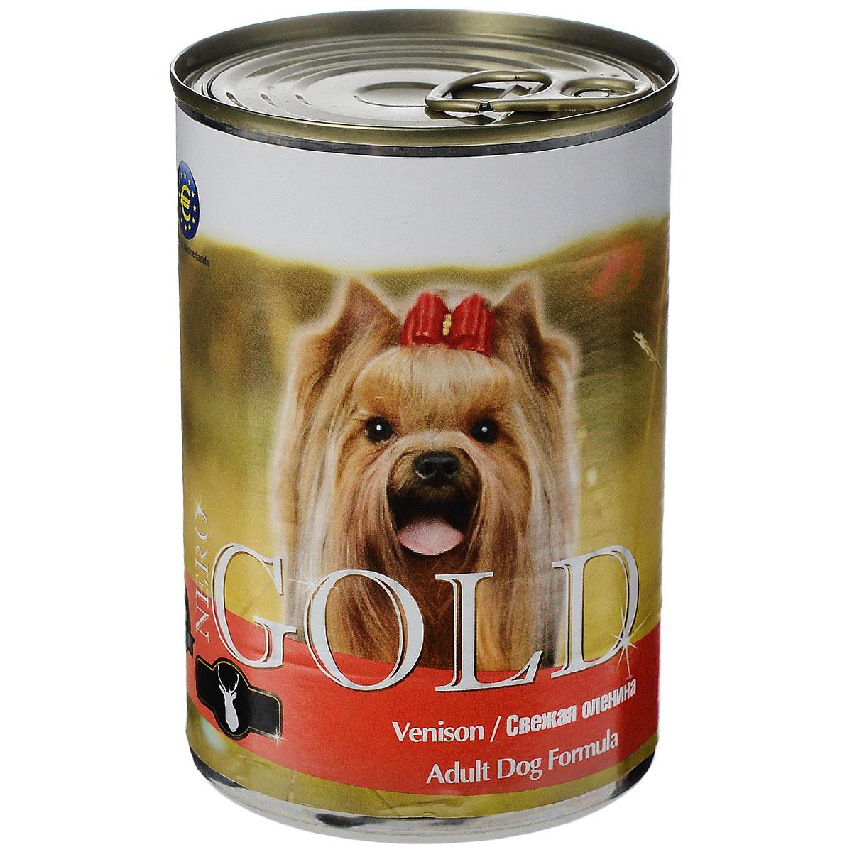 Консервы для собак Nero Gold, с олениной, 410 г10326Консервы для собак Nero Gold - полнорационный продукт, содержащий все необходимые витамины и минералы, сбалансированный для поддержания оптимального здоровья вашего питомца! Состав: мясо и его производные, филе курицы, оленина, злаки, витамины и минералы. Гарантированный анализ: белки 6,5%, жиры 4,5%, клетчатка 0,5%, зола 2%, влага 81%. Пищевые добавки на 1 кг продукта: витамин А 1600 МЕ, витамин D 140 МЕ, витамин Е 10 МЕ, железо 24 мг, марганец 6 мг, цинк 15 мг, медь 1 мг, магний 200 мг, йод 0,3 мг, селен 0,2 мг.Вес: 410 г. Товар сертифицирован.