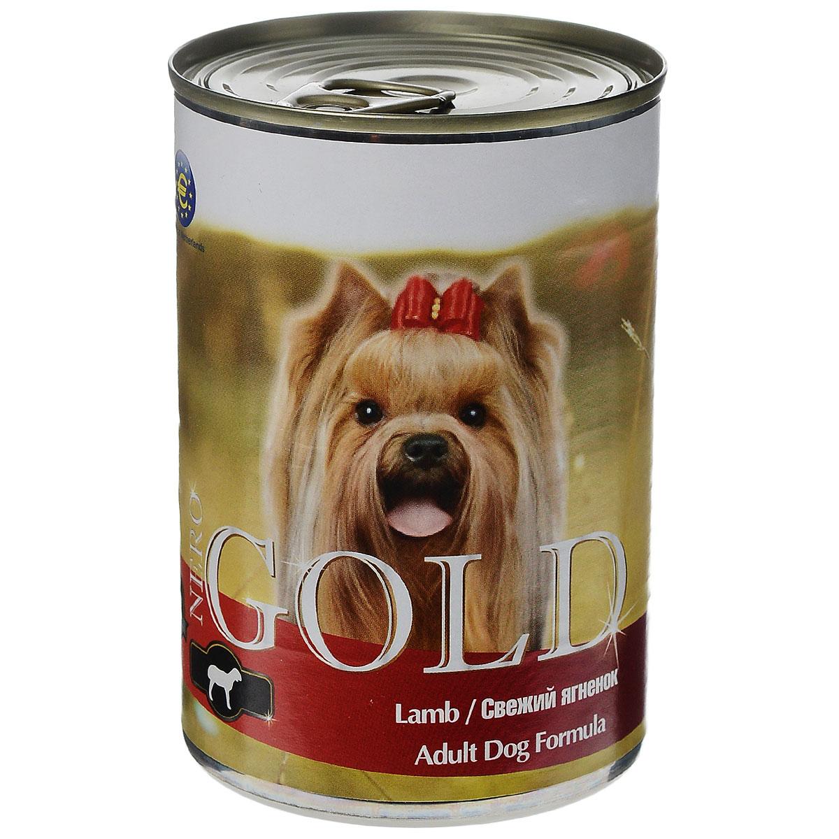 Консервы для собак Nero Gold, свежий ягненок, 410 г10323Консервы для собак Nero Gold - полнорационный продукт, содержащий все необходимые витамины и минералы, сбалансированный для поддержания оптимального здоровья вашего питомца! Состав: мясо и его производные, филе курицы, филе ягненка, злаки, витамины и минералы. Гарантированный анализ: белки 6,5%, жиры 4,5%, клетчатка 0,5%, зола 2%, влага 81%. Пищевые добавки на 1 кг продукта: витамин А 1600 МЕ, витамин D 140 МЕ, витамин Е 10 МЕ, железо 24 мг, марганец 6 мг, цинк 15 мг, медь 1 мг, магний 200 мг, йод 0,3 мг, селен 0,2 мг.Вес: 410 г. Товар сертифицирован.