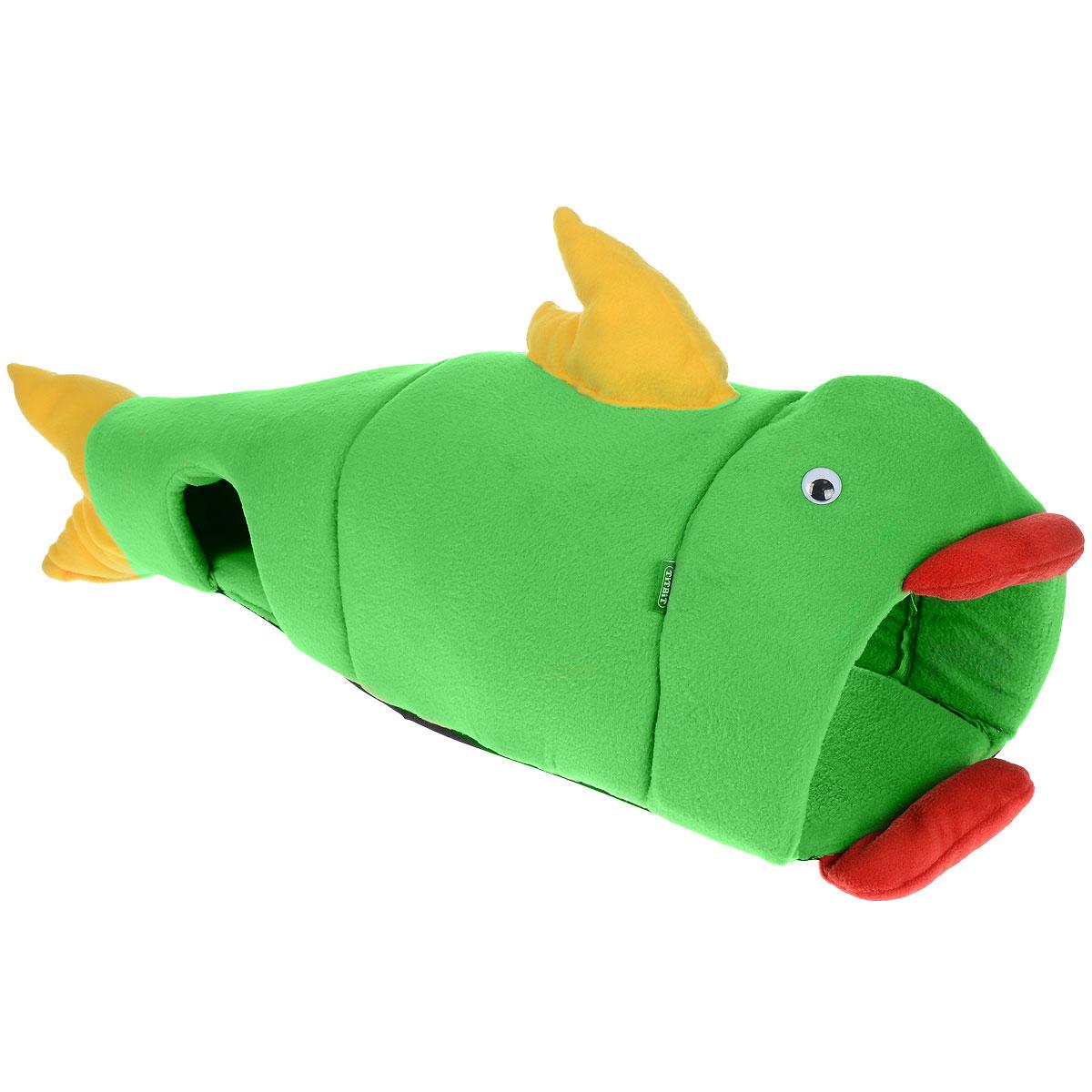 Домик для кошек и собак Titbit Рыбка, цвет: салатовый, 100 см х 35 см игрушка для собак titbit канат с рулетом из кожи длина 35 см