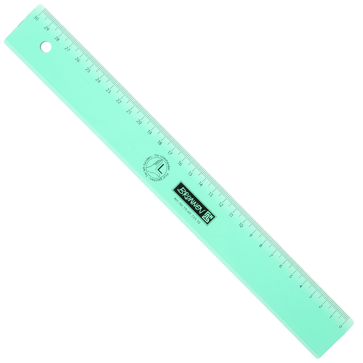 Линейка для левши Brunnen, цвет: зеленый, 30 см49725-30\BCDЛинейка Brunnen, длиной 30 см, выполнена из прозрачного пластика зеленого цвета. Линейка предназначена специально для левшей. Шкала на линейке расположена справа налево. Линейка Brunnen - это незаменимый атрибут, необходимый школьнику или студенту, упрощающий измерение и обеспечивающий ровность проводимых линий.