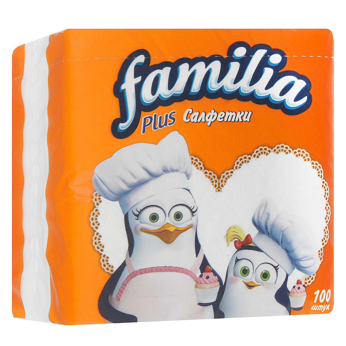 Салфетки бумажные Familia Plus, цвет: белый, 30 х 30 см, 100 шт салфетки plus long 24шт
