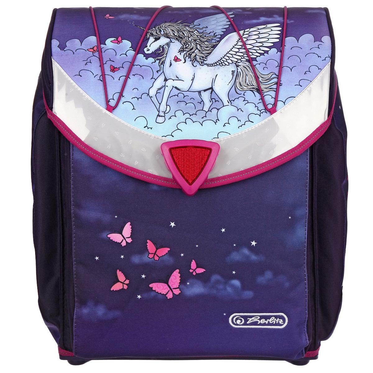 Ранец школьный Herlitz Flexi Pegasus, цвет: фиолетовый11280062Школьный ранец Herlitz Flexi Pegasus станет для вашего ребенка надежным спутником в получении знаний. Ранец с жестким корпусом выполнен из прочного водооталкивающего материала фиолетового цвета и оформлен изображением пегаса. Ранец содержит два вместительных отделения. Внутри одного из них находится фиксатор для тетрадей и учебников. Внутри второго отделения расположены текстильная перегородка с уплотнителем и большой карман-сеточка на застежке-молнии. Ранец закрывается клапаном с поворачивающейся магнитной защелкой. На внутренней части клапана находятся два пластиковых кармашка, в которые можно поместить расписание уроков и визитку с личными данными владельца.Сверху на клапане имеется эластичная шнуровка, с помощью которой на ранце можно закрепить куртку.По бокам ранца расположены два внешних потайных кармана, которые закрываются на застежки-молнии. Бегунки на застежках дополнены металлическими держателями с надписью Herlitz. Ортопедическая спинка позволяет уменьшить нагрузку на спину.Ранец оснащен широкими мягкими лямками, регулируемыми по длине, которые равномерно распределяют нагрузку на плечевой пояс, и удобной ручкой для переноски в руке.Днище ранца выполнено из легкого, но прочного пластика, легко моется и позволит продлить срок службы ранца. Светоотражающие элементы не оставят незамеченным вашего ребенка в темное время суток.