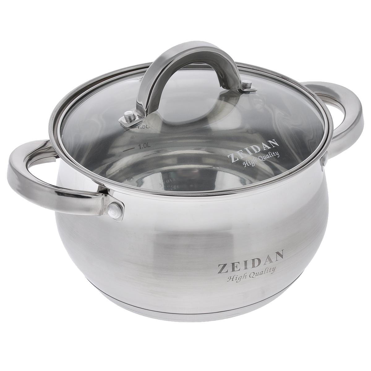 Кастрюля Zeidan с крышкой, 3 лZ-50238Кастрюля Zeidan изготовлена из высококачественной нержавеющей стали, имеет капсулированное дно, которое обеспечивает наилучшее распределение тепла. Кастрюля оформлена сочетанием зеркальной и матовой полировок. Прозрачная крышка, выполненная из термостойкого стекла, позволяет следить за процессом приготовления пищи. На внутренней стенке кастрюли расположена шкала литража. Кастрюля подходит для газовых, электрических, галогеновых, стеклокерамических и индукционных плит. Пригодна для мытья в посудомоечной машине.Диаметр (по верхнему краю): 19,5 см.Ширина (с учетом ручек): 26 см.Высота стенок: 11,5 см.Толщина стенок: 3 мм.Толщина дна: 4 мм.