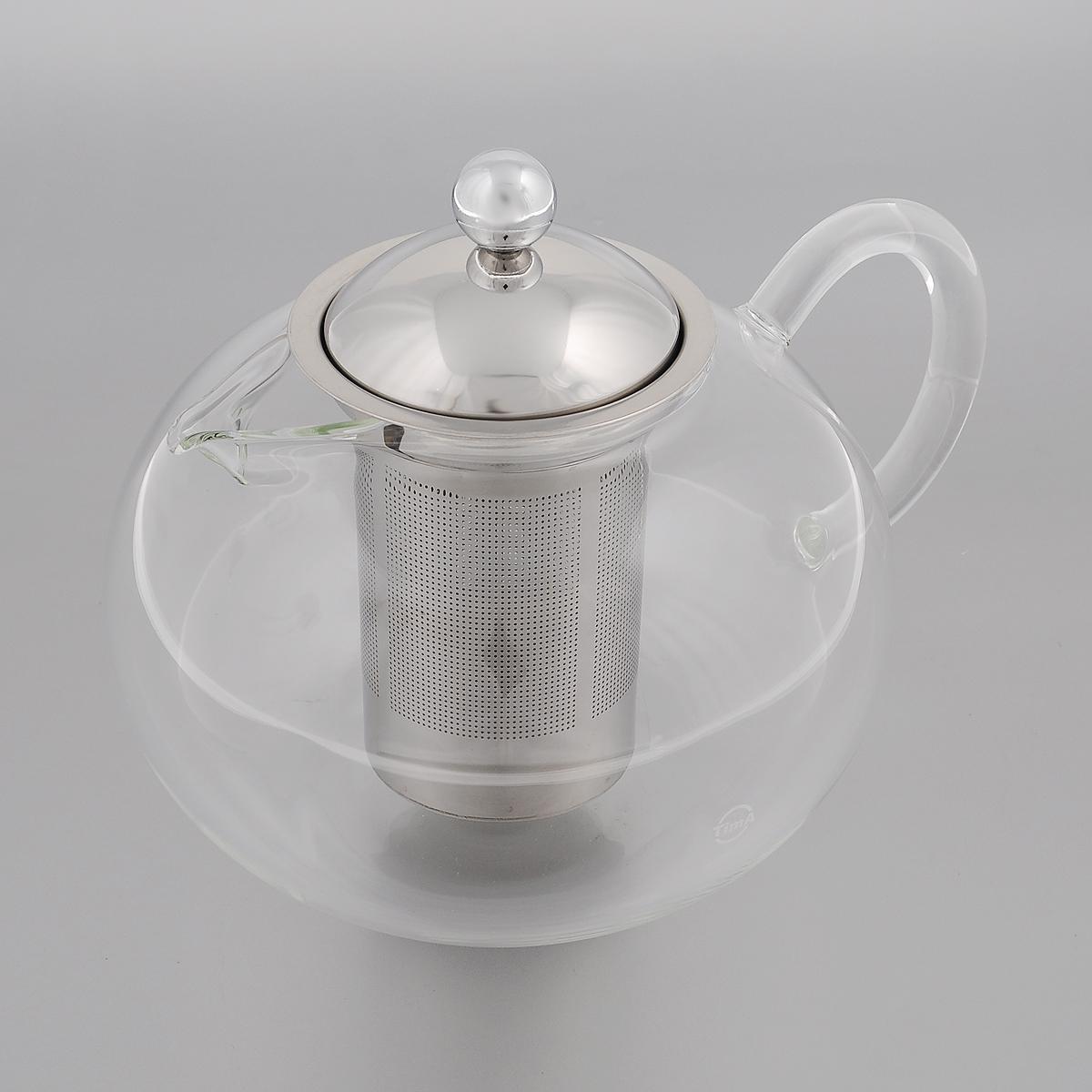"""Заварочный чайник TimA """"Бергамот"""" изготовлен из термостойкого боросиликатного стекла - прочного износостойкого материала. Чайник оснащен фильтром и крышкой из нержавеющей стали. Простой и удобный чайник поможет вам приготовить крепкий, ароматный чай.  Дизайн изделия создает гипнотическую атмосферу через сочетание полупрозрачного цвета и хромированных элементов.  Можно мыть в посудомоечной машине. Не использовать в микроволновой печи. Диаметр (по верхнему краю): 7,5 см. Высота (без учета крышки): 10,5 см. Высота фильтра: 10 см."""