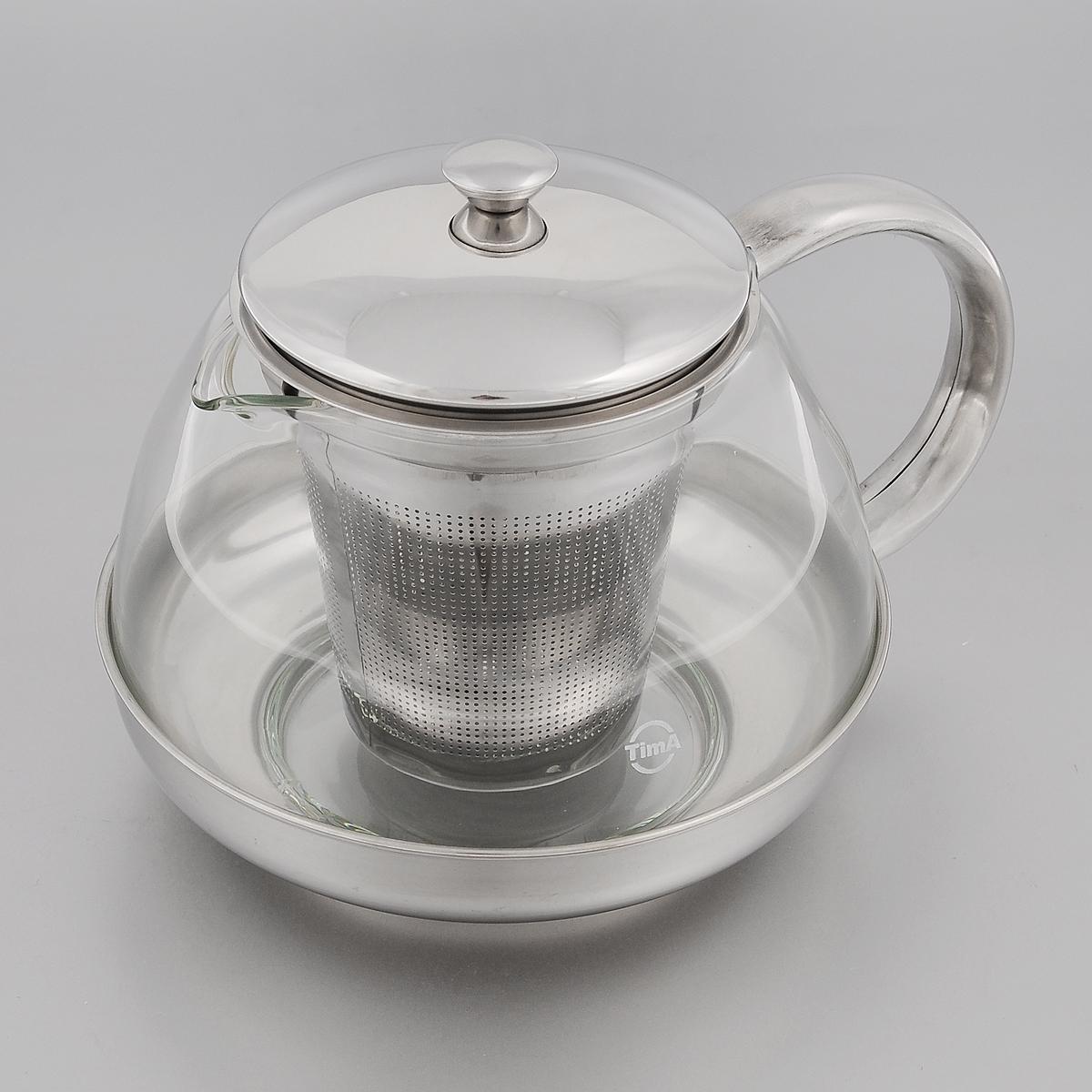 Чайник заварочный TimA Лотос, 1 лTL-100Заварочный чайник TimA Лотос изготовлен из термостойкого боросиликатного стекла - прочного износостойкого материала. Чайник оснащен фильтром, крышкой, основанием и ручкой из нержавеющей стали.Простой и удобный чайник поможет вам приготовить крепкий, ароматный чай. Дизайн изделия создает гипнотическую атмосферу через сочетание полупрозрачного цвета и хромированных элементов. Можно мыть в посудомоечной машине. Не использовать в микроволновой печи.Диаметр (по верхнему краю): 8,5 см.Высота (без учета крышки): 9,5 см.Высота фильтра: 8,7 см.