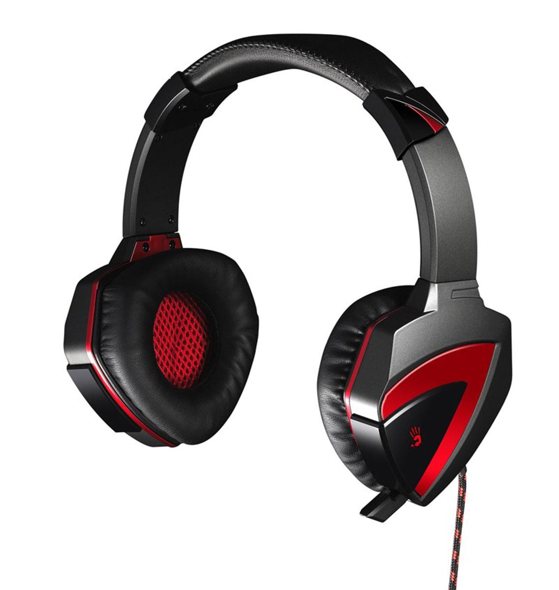 A4Tech Bloody G501, Black игровая гарнитураG501Игровая гарнитура Bloody G501 обеспечивают полноценное объемное звучание в формате 7.1, благодаря чему вы сможете почувствовать себя участником происходящего на экране. Гарнитура создана для полного погружения игрока в виртуальный мир!Выдвижной микрофон: Если вы не используете микрофон, то можете его спрятать и использовать гарнитуру как мониторные наушники.Альтернативные настройки голоса в микрофоне:Воспользуйтесь одним из пяти эффектов настройки звучания голоса выбирайте режим работы микрофона (Original / Warcraft / Duck / Male-Female / Female-Male).Безупречный комфорт: Оголовье наушников регулируется, а амбушюры созданы специально для комфортного прослушивания. Раковины вращаются на 360 градусов, что создает максимальный комфорт для пользователя!Шумоподавление: Шумы полностью подавляются, что позволяет игроку не отвлекаться от игры.Легкий вес и компактность:Вес гарнитуры всего 258 г, благодаря легкости, шея и голова игрока находится в комфорте и не устает.Bloody G501 не обычная игровая гарнитура, эта гарнитура обладает всем спектром настроек профессионального уровня, что удовлетворит требования любого геймера. Все это было достигнуто путем инновационных разработок и многолетнего опыта. С гарнитурой Bloody играть в вашу любимую игру станет приятнее и вы ощутите звук на все 100%!Характеристики микрофона: Направленность микрофона: всенаправленный Чувствительность микрофона: -58 дБ Частотный диапазон: 50 - 16000 ГцКак выбрать игровые наушники. Статья OZON Гид