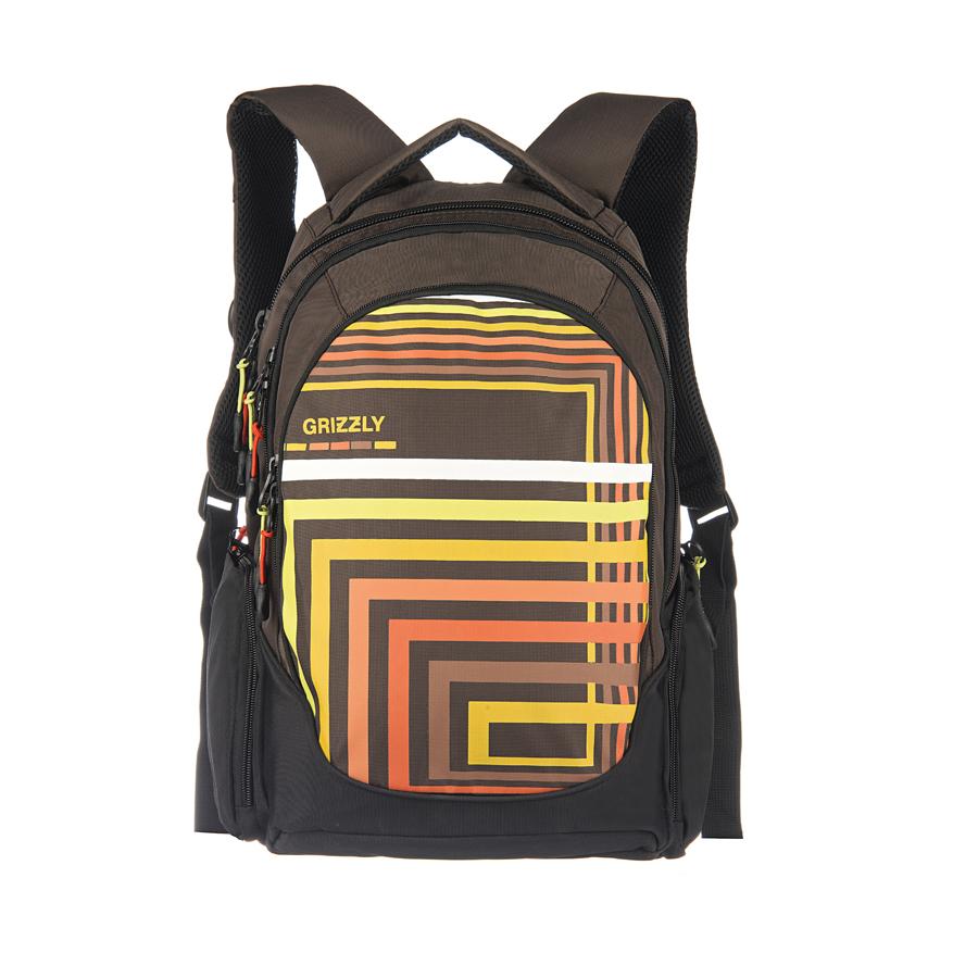 Рюкзак городской Grizzly, цвет: коричневый, оранжевый, 26 л. RU-601-1/3