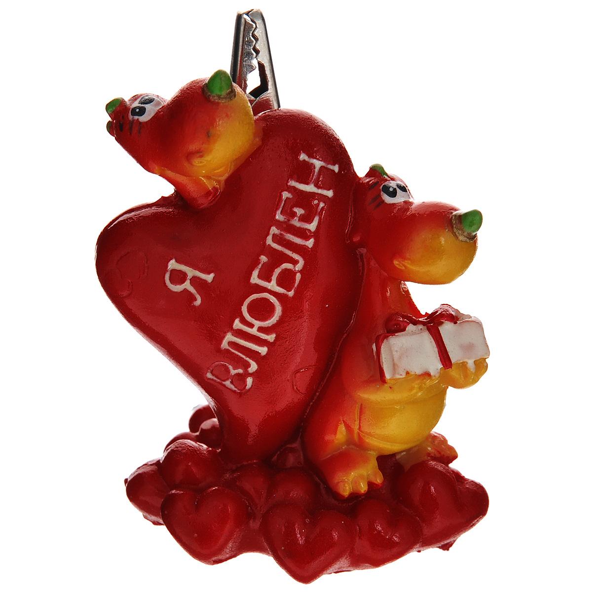 Статуэтка декоративная Lunten Ranta Дракон. Я влюблен, с держателем для карточек, цвет: красный, желтый очки lunten ranta диадема 66151