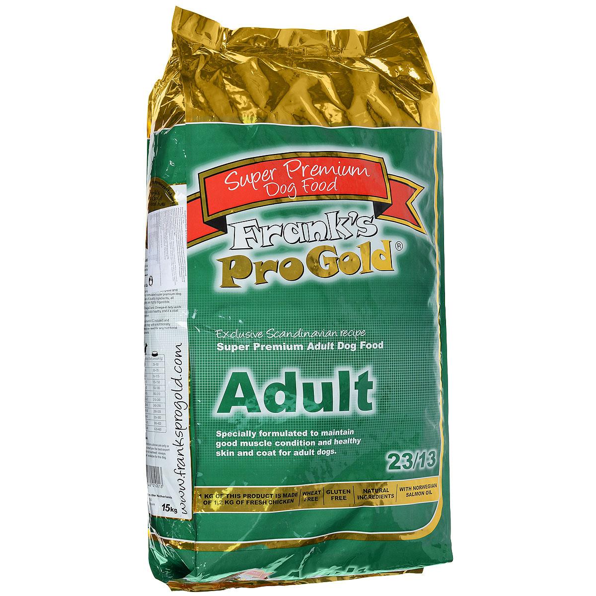 Корм сухой Franks ProGold для взрослых собак всех пород, 15 кг17929Сухой корм Franks ProGold разработан специально для взрослых собак с нормальной активностью. В составе корма содержатся легко перевариваемые продукты, такие как: мясо курицы высшего качества и рис. Сбалансированное содержание витаминов С и Е помогают лучшему усвоению пищи и уменьшению объема фекалий.Не содержит пшеницы, соевых добавок, ГМО.Состав: дегидрированное мясо курицы, маис, рис, куриный жир, свекла, дегидрированная рыба, кэроб, льняное семя, гидролизованная куриная печень, дрожжи, минералы и витамины, хондроитин, глюкозамин, L-карнитин, лецитин (минимум 0,5%), инулин (минимум 0,5% FOS), таурин. Пищевая ценность: белки 23,0%, жиры 13,0%, клетчатка 2,5%, зола 8,0%, влажность 9,5%, фосфор 1,2%, кальций 1,6%.Добавки: витамин-A (E672) 18000 IU/кг, витамин-D3 (E671) 1800 IU/кг, витамин-E (альфа токоферола ацетат) 153 мг/кг, витамин-C (фосфат аскорбиновой кислоты) 100 мг/кг, E1 50 мг/кг, E2 1,5 мг/кг, E4 5 мг/кг, E5 35 мг/кг, E6 65 мг/кг. Товар сертифицирован.
