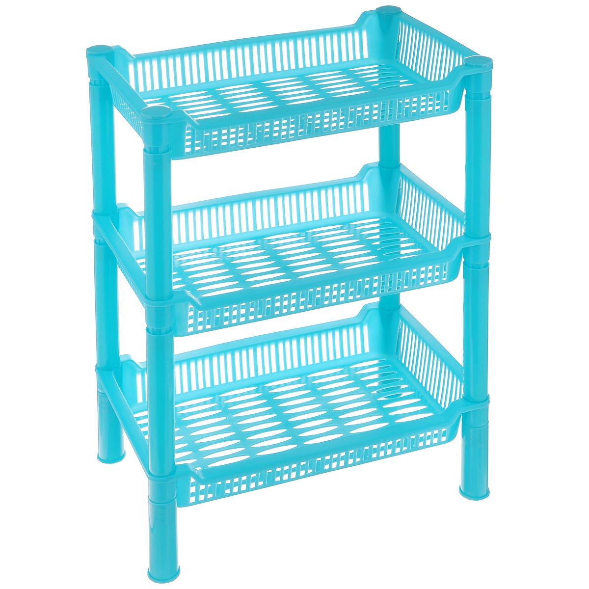 Этажерка Sima-land, 3-ярусная, цвет: голубой, 27 х 17 х 27 см862515_голубойКомпактная этажерка Sima-land выполнена из высококачественногопластика. Содержит 3 корзины с перфорированным дном и стенками. Этажеркаподходит для хранения различных фруктов и овощей на кухне или различныхпринадлежностей в ванной комнате. Очень удобная и компактная, но в тоже время вместительная, такая этажеркапрекрасно впишется в интерьер любой кухни или ванной комнаты. Она поможетлегко организовать пространство. Легко собирается и разбирается.Размер этажерки (ДхШхВ): 27 см х 17 см х 27 см.Размер яруса (ДхШхВ): 27 см х 17 см х 4,5 см.