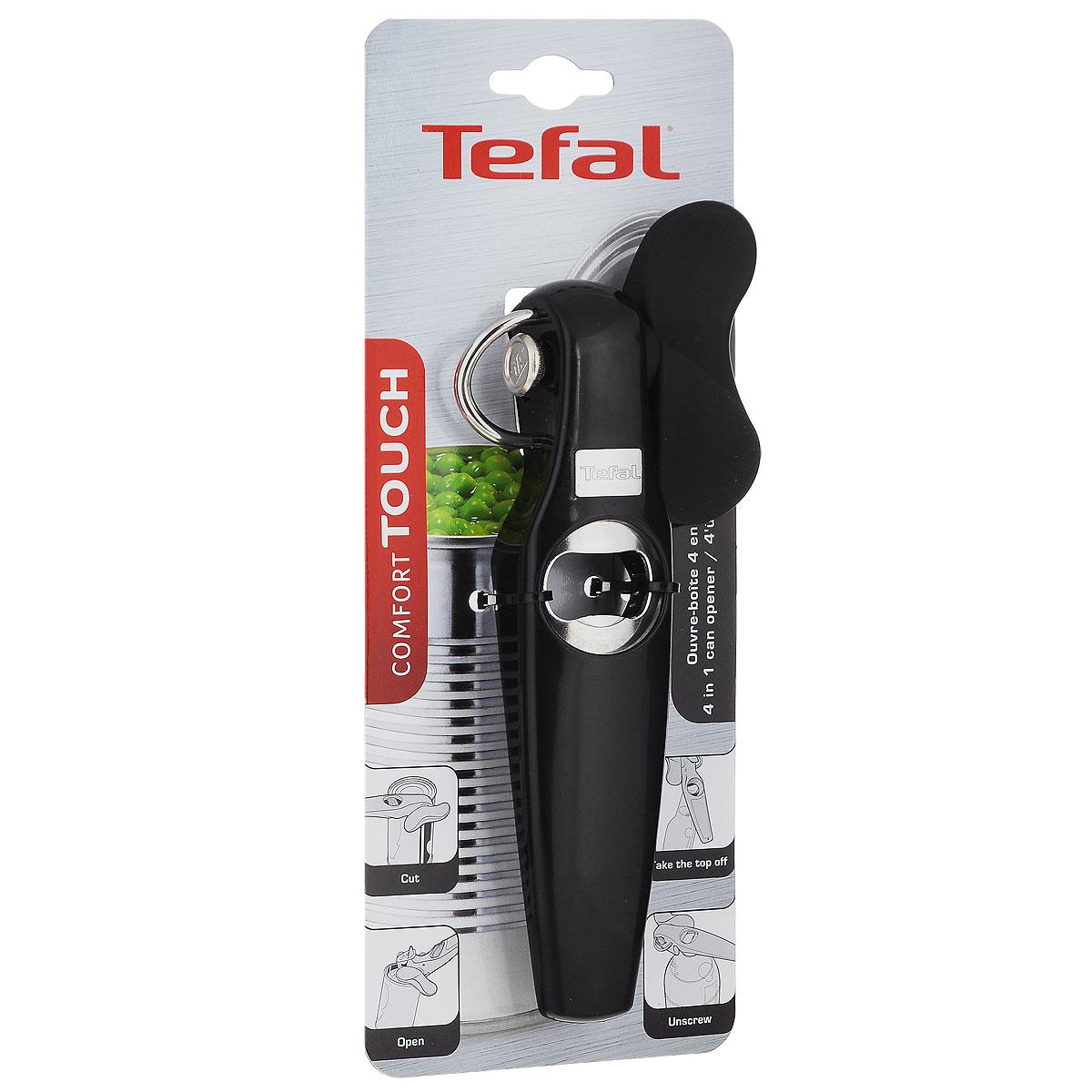 Нож консервный Tefal Comfort Touch, цвет: черный, длина 19 см2100071030Консервный нож Tefal Comfort Touch выполнен из высококачественного пластика. Лезвия изготовлены из закаленной нержавеющей стали.С помощью этого удобного консервного ножа вы сможете без приложения усилий со своей стороны открыть любую жестяную консервную банку. Эргономичная ручка с мягкой вставкой из силикона сделает использование ножа еще удобнее. Консервный нож Comfort Touch станет достойным дополнением к кухонному инвентарю. Изделие можно мыть в посудомоечной машине.Длина ножа: 19 см.