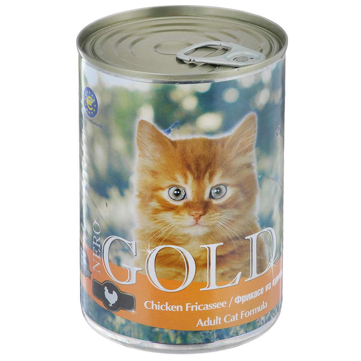 Консервы_для_кошек_~Nero_Gold~,_с_фрикасе_из_курицы,_410_г