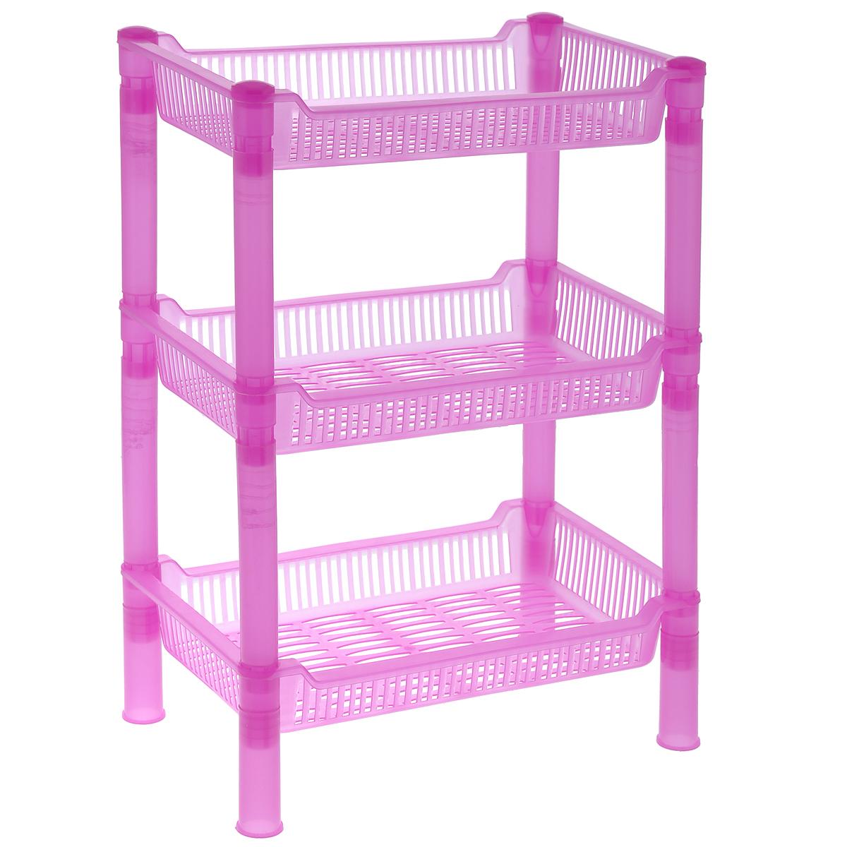 Этажерка Sima-land, 3-ярусная, цвет: розовый, 27 х 17 х 27 см862515_розовыйКомпактная этажерка Sima-land выполнена из высококачественногопластика. Содержит 3 корзины с перфорированным дном и стенками. Этажеркаподходит для хранения различных фруктов и овощей на кухне или различныхпринадлежностей в ванной комнате. Очень удобная и компактная, но в тоже время вместительная, такая этажеркапрекрасно впишется в интерьер любой кухни или ванной комнаты. Она поможетлегко организовать пространство. Легко собирается и разбирается.Размер этажерки (ДхШхВ): 27 см х 17 см х 27 см.Размер яруса (ДхШхВ): 27 см х 17 см х 4,5 см.