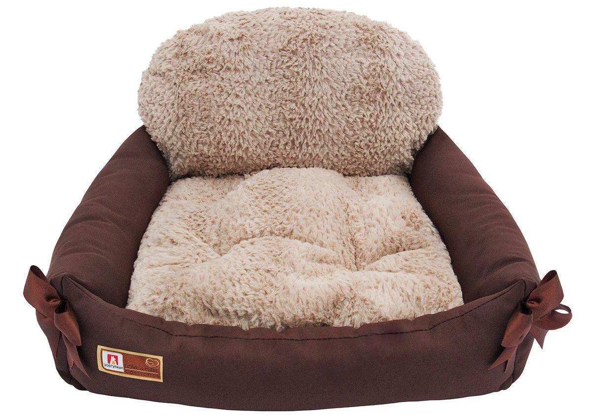 Лежак для собак и кошек Зоогурман Валенсия, цвет: шоколадный, 55 см х 50 см х 25 см лежак дарэлл хантер лось 2 с подушкой 55 40 16см