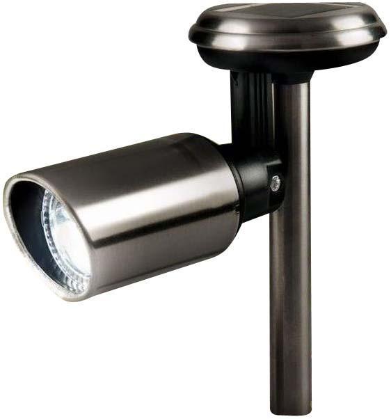 Светильник на солн.батарее для точечной подсветки. Регулируемая голова. Нерж сталь .H22cm x W10cm x D33.5cm держатель для кашпо gardman регулируемая цепочка для подвешивания корзин gardman черный