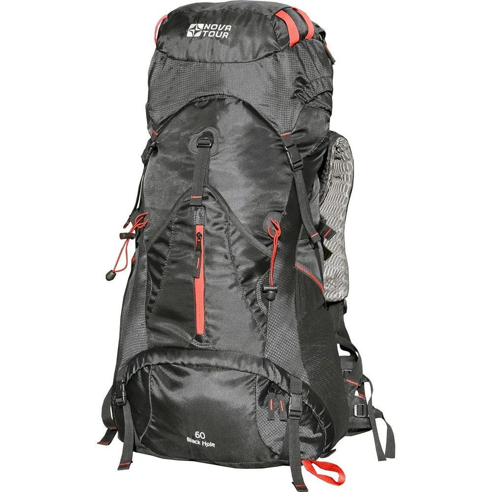 Рюкзак туристический Nova Tour Блэк Хол 60, цвет: черный12302-901-00Если вы устали от обыкновенных рюкзаков и душа просит праздника, то рюкзак Блэк Хол именно то, что нужно. Рюкзак будет составлять с вами единое целое, ведь его подвесная система имеет увеличенные по ширине лямки и точно настраиваемый под строение тела облегченный 3D пояс. Есть желание достать что-либо в рюкзаке не расстегивая верхний клапан? Пожалуйста! Удобный нижний и боковой вход помогут в этом. Нужно чтото снять или наоборот надеть? Любую потребовавшуюся в переходе одежду можно хранить в специальном закрывающемся кармане на фасаде рюкзака. Всех любителей ходить с треккинговыми палками несомненно порадует наличие крепления и для этого инвентаря.В рюкзаке используется система подвески спины ABS-5.Лат и рамы у рюкзака нет.Спину рюкзака формирует полужесткая вставка из материала EVA и боковые валики со спинной подушкой из AirMesh. Спина рюкзака оборудована шкалой (несколькими горизонтально пришитыми стропами), за которые цепляется узел лямок. Таким образом происходит подгонка рюкзака под рост человека.Особенности:Подвеска ABS V2;Ткань Poly Oxford 420D Ripstop;Защитный чехол;Узлы крепления горного снаряжения;Грудная стяжка;Влагозащитная молния;Возможность крепления питьевой системы;Пояс с карманами;Боковые стяжки;Эластичные карманы. Характеристики:Материал: Poly Oxford 420D Ripstop. Размер рюкзака: 68 см х 38 см х 25 см. Объем: 60 л. Цвет: черный. Размер упаковки: 66 см х 36 см х 12 см. Артикул: 12302-901-00.