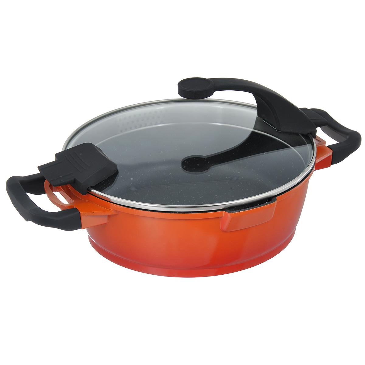 Сотейник BergHOFF Virgo Orange с крышкой, с антипригарным покрытием, цвет: оранжево-красный, 3 л. 23049062304906Сотейник BergHOFF Virgo изготовлен из литого алюминия, который имеет эффект чугунной посуды. В отличие от чугуна, посуда из алюминия легче по весу и быстро нагревается, что гарантирует сбережение энергии. Внутреннее покрытие - экологически безопасное антипригарное покрытие Ferno Green, которое не содержит ни свинца, ни кадмия. Антипригарные свойства посуды позволяют готовить без жира и подсолнечного масла или с его малым количеством. Ручки выполнены из бакелита с покрытием Soft-touch, они имеют комфортную эргономичную форму и не нагреваются в процессе эксплуатации. Крышка изготовлена из термостойкого стекла, благодаря чему можно наблюдать за ингредиентами в процессе приготовления. Широкий металлический обод со специальными отверстиями разного диаметра позволяет выливать жидкость, не снимая крышку. Сотейник оснащен двумя носиками для слива жидкости. Подходит для всех типов плит, включая индукционные. Рекомендуется мыть вручную. Диаметр сотейника (по верхнему краю): 24 см. Ширина сотейника (с учетом ручек): 36 см.Высота стенки: 8 см. Толщина стенки: 3 мм. Толщина дна: 5 мм.