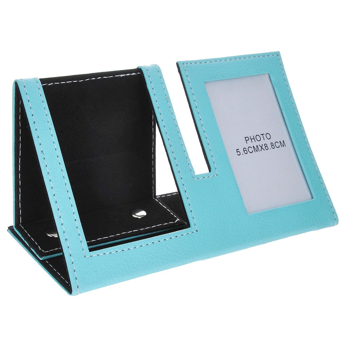 """Подставка под телефон """"Феникс-презент"""", с рамкой для фотографии, цвет: голубой, черный, 18,8 х 7,9 х 9,8 см"""