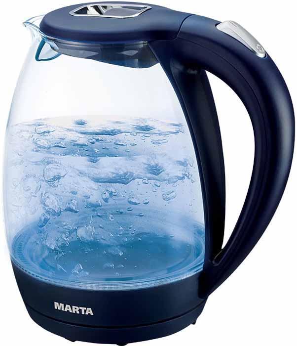 Marta MT-1055, Sapphire Blue чайник электрическийMT-1055От производителя Marta MT-1055 - электрический чайник с резервуаром из закаленного стекла. Чайник оснащен автоматическим отключением при закипании и отключением при недостаточном количестве воды. Мощность 2200 Ватт поможет вскипятить воду в считаные минуты. Элегантный прозрачный чайник с внутренней подсветкой не оставит равнодушным. Легкий, функциональный, надежный и красивый - дарит отличное настроение красотой закипающей воды.