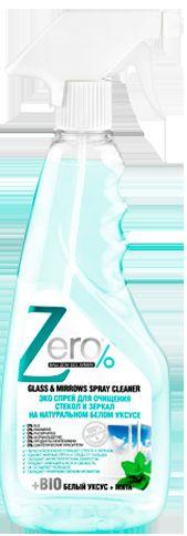 Спрей для очистки стекол и зеркал Zero, на натуральном белом уксусе, с мятой, 420 мл мыло для очищения любых поверхностей zero оливковое натуральное 500 мл