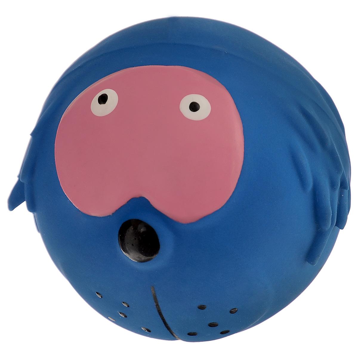 Игрушка для собак I.P.T.S. Мяч с мордочкой, цвет: синий, диаметр 7 см игрушка для собак dezzie мяч фигуры диаметр 7 см