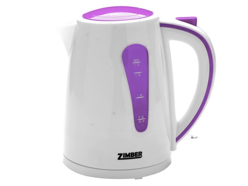Zimber ZM-10843 электрический чайникZM-10843Быстро вскипятить воду или поддерживать ее горячей в течение долгого времени поможет чайник Zimber. На рынке бытовой техники этот прибор пользуется неизменной популярностью благодаря высокому качеству, безопасности и удобству в использовании.Чайник оснащен скрытым нагревательным элементом, что очень удобно – он более долговечен, чем спираль, и не подвержен образованию накипи. Для безопасного использования в чайниках Zimberпредусмотрены функции автоматического отключения при отсутствии воды или открытии крышки, а также встроенная защита от перегрева.Яркие цвета несомненно порадуют и внесут краски в Вашу кухню!