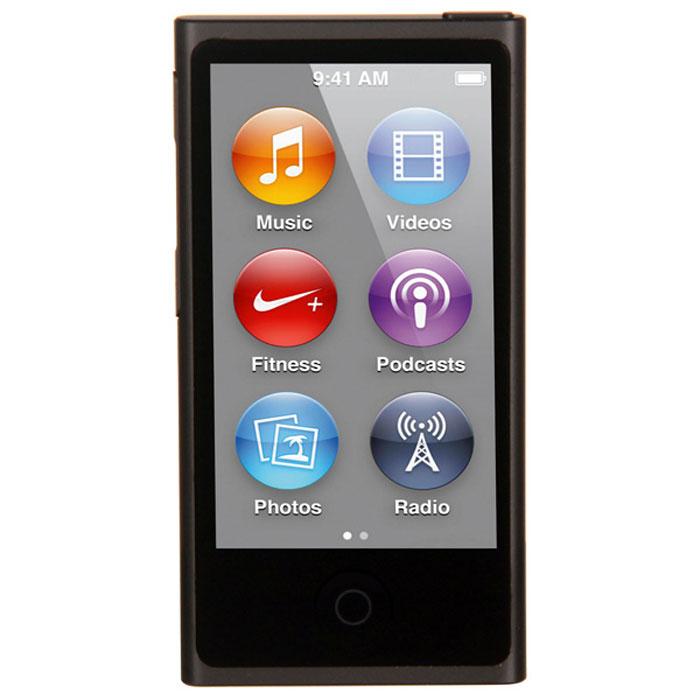 Apple iPod nano 16 GB (7 Gen), Space Gray MP3-плеерMKN52RU/AApple iPod nano 16 GB (7 Gen) - самый тонкий iPod. Его толщина всего 5,4 мм, а размер сравним с размером кредитной карты. 2,5-дюймовый дисплей Multi-Touch почти в два раза больше дисплея предыдущего iPod nano, так что на экране будет еще больше музыки, фотографий и видео. Кнопки позволяют легко управлять воспроизведением и громкостью. Новый корпус из анодированного алюминия выглядит утонченно и элегантно. И, конечно, iPod nano неизменно радует разнообразием своих цветов - ярких и абсолютно неотразимых.Задаем ритм:Просто прикоснитесь, чтобы включить вашу любимую песню. Или целый альбом. Или все композиции одного исполнителя. Вы можете просматривать медиатеку по жанрам или композиторам. Полистайте всю коллекцию музыки - обложки альбомов на увеличенном экране выглядят просто великолепно. Или просто встряхните iPod nano - и он перейдет к случайной песне из вашей медиатеки.Видео. Маленький большой экран:Теперь вы можете смотреть бесплатные подкасты и домашнее видео на широкоэкранном 2,5-дюймовом Multi-Touch дисплее iPod nano. Коснитесь для воспроизведения, перемотки вперед/назад и паузы. С iPod nano вы всегда и везде сможете развлечься.Технология Bluetooth:Теперь слушать музыку будет еще удобнее - потому что iPod nano оснащен встроенной технологией Bluetooth 4.0. Это значит, что к нему можно легко подключать беспроводные наушники, динамики и автомобильные аудиосистемы, поддерживающие технологию Bluetooth. Когда нет проводов, вы чувствуете себя гораздо свободнее. Вам, например, не придется тратить время на распутывание наушников. А если ваша автомобильная аудиосистема поддерживает Bluetooth, то как только вы сядете за руль, Ваш iPod nano сможет начать воспроизведение с того места, на котором вы остановилисьРадио:FM-радио на iPod nano будет держать вас в курсе событий. Футбольные матчи, истории о знаменитостях, любимые ток-шоу - слушайте все, что хотите. Просто подключите наушники и коснитесь дисплея - на нем появ