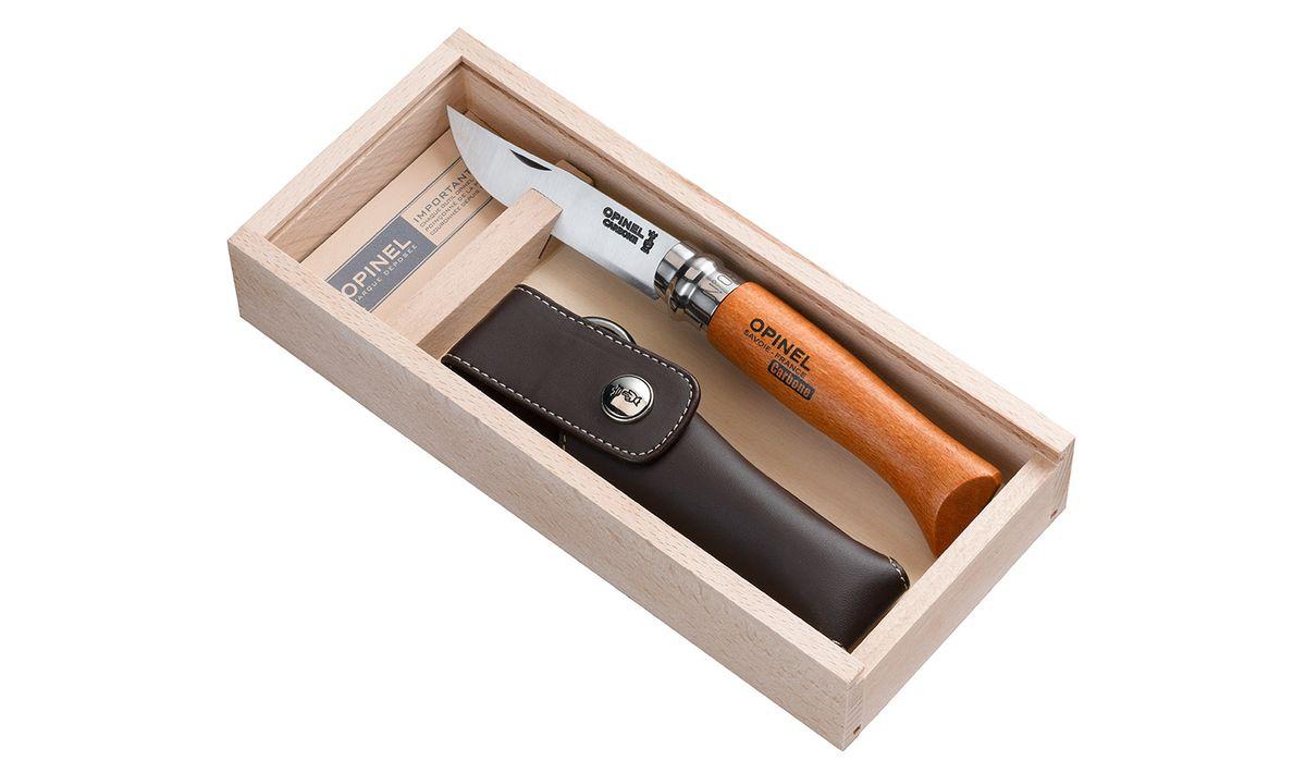 Нож Opinel n°8 углеродистая сталь, подарочная коробка, чехол 000815