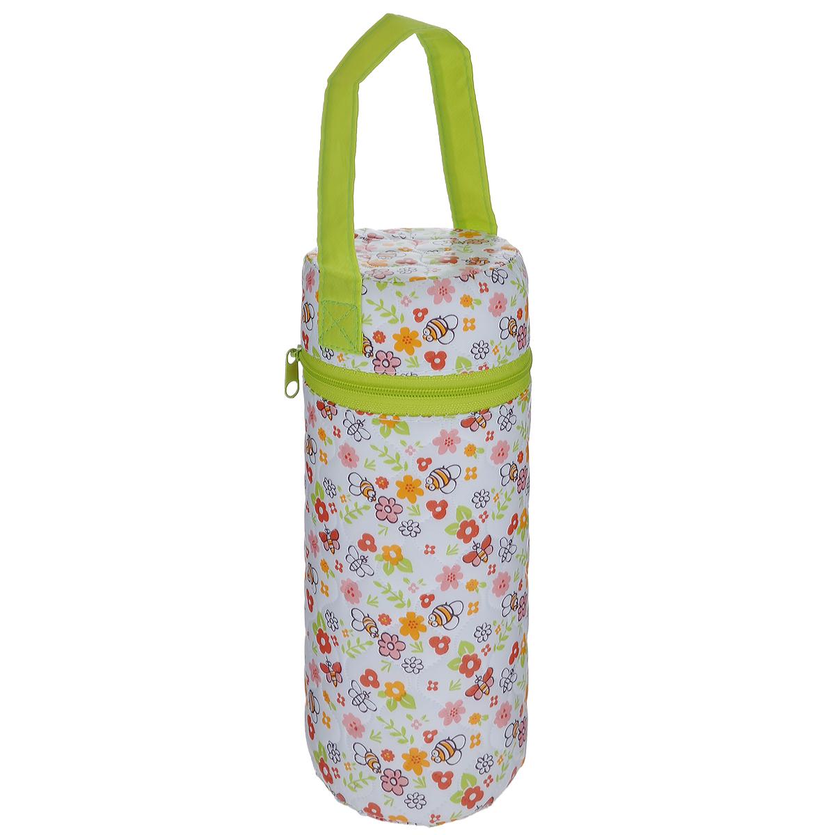 Контейнер для бутылочки Мир детства  Пчелки , трехслойный, цвет: белый, салатовый -  Все для детского кормления