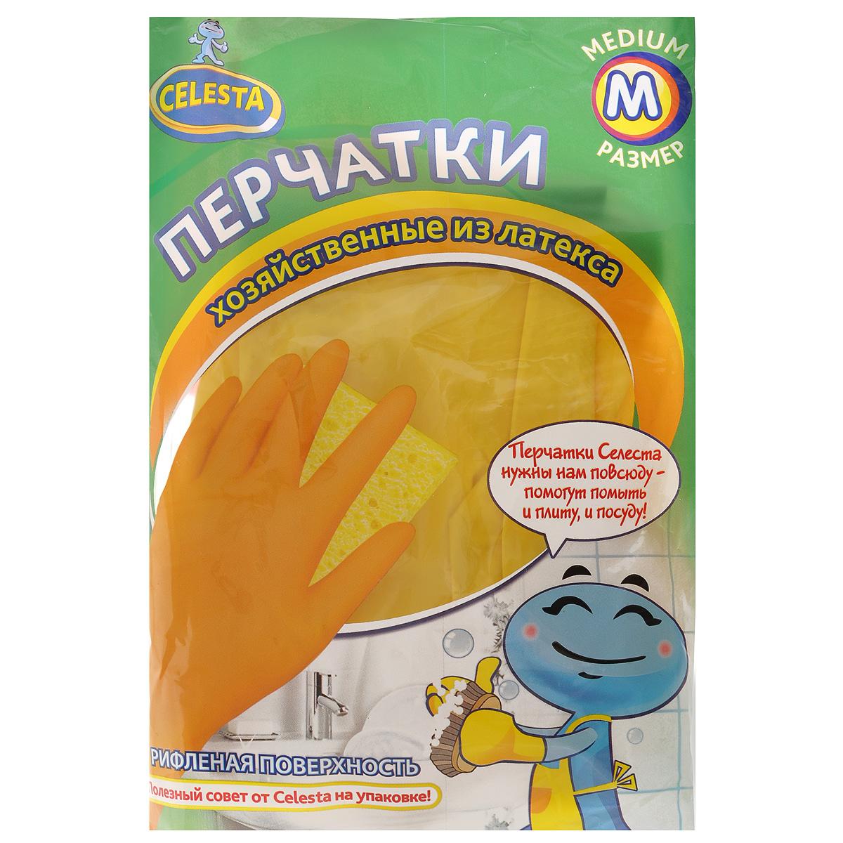 Перчатки хозяйственные Celesta, цвет: желтый. Размер М4192Универсальные перчатки Celesta произведены из высококачественного латекса, рифленая поверхность позволяет удерживать мокрые предметы. Перчатки подходят для различных видов домашних работ. Перчатки эластичны, хорошо облегают руку.