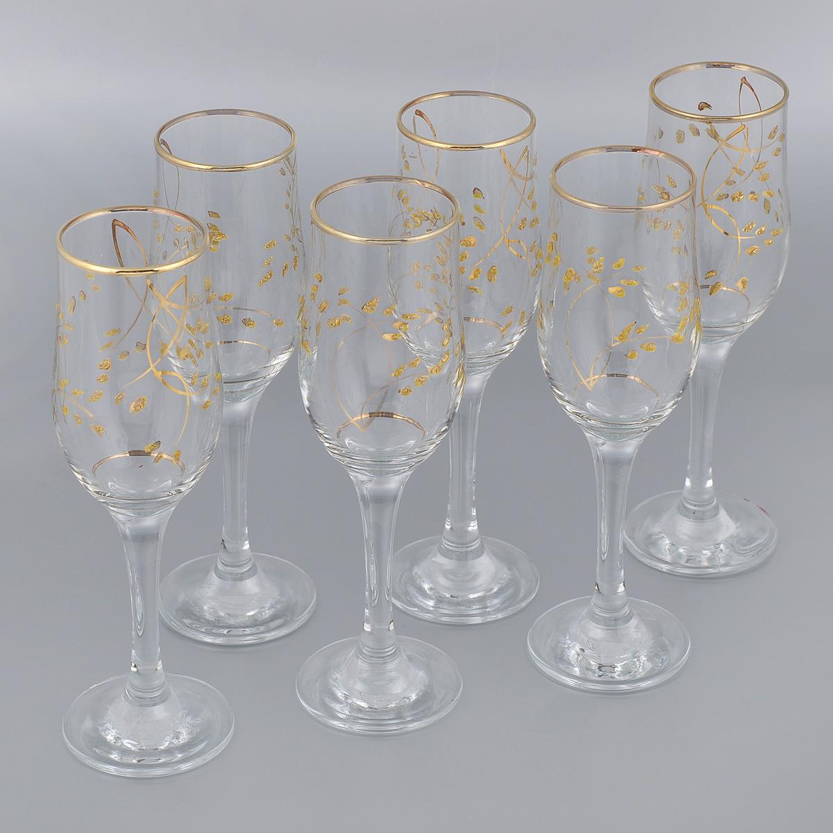 Набор бокалов Гусь-Хрустальный Колосок, 200 мл, 6 штK28-160Набор Гусь-Хрустальный Колосок состоит из 6 бокалов на длинных тонких ножках, изготовленных из высококачественного натрий-кальций-силикатного стекла. Изделия оформлены золотистой эмалью и красивым рельефным рисунком. Бокалы предназначены для шампанского или вина. Такой набор прекрасно дополнит праздничный стол и станет желанным подарком в любом доме. Разрешается мыть в посудомоечной машине. Диаметр бокала (по верхнему краю): 5 см. Высота бокала: 20,5 см.