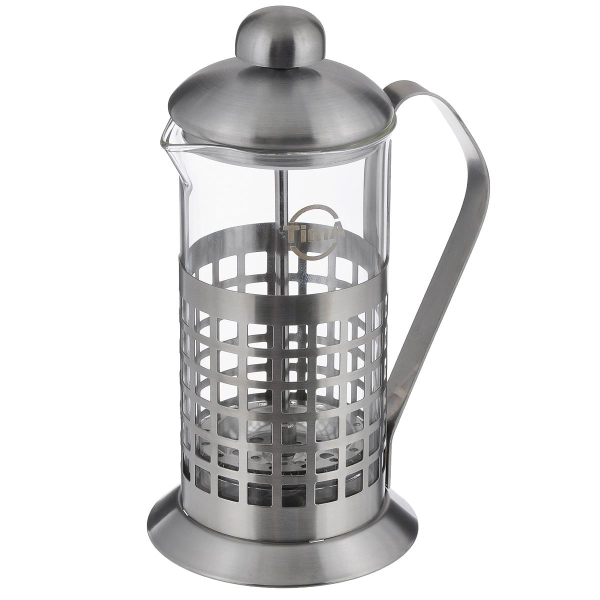 Чайник заварочный TimA Бисквит, 350 млPB-350Чайник заварочный TimA Бисквит выполнен в виде френч-пресса и представляет собой гибрид заварочного чайника и кофейника. Колба выполнена из жаропрочного стекла, корпус, крышка и поршень изготовлены из нержавеющей стали. Изделие легко разбирается и моется. Прозрачные стенки чайника дают возможность наблюдать за насыщением напитка, а поршень позволяет с легкостью отжать самый сок от заварки и получить напиток с насыщенным вкусом. Заварочный чайник - постоянно используемый предмет посуды, который необходим на каждой кухне. Френч-пресс TimA Бисквит займет достойное место среди аксессуаров на вашей кухне. Можно мыть в посудомоечной машине. Диаметр (по верхнему краю): 7 см. Высота чайника: 18,5 см.Объем: 350 мл.