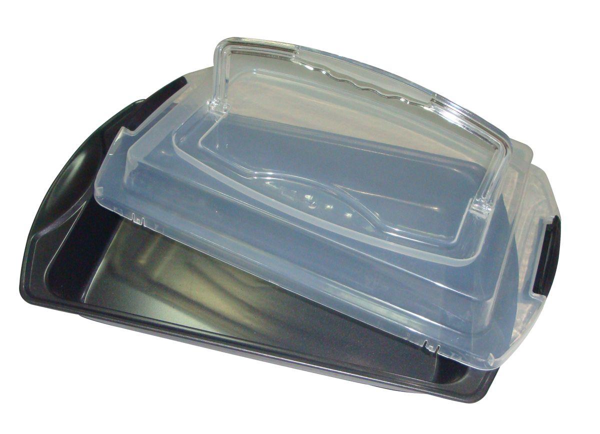 Противень Bekker Koch, с крышкой, с антипригарным покрытием, 41 см х 25 см х 9,5 смBK-3963Противень Bekker Koch изготовлен из углеродистой стали с антипригарным покрытием Xynflon. Пища не пригорает и не прилипает к стенкам, что облегчает процесс сервировки и мытья. Изделие имеет прямоугольную форму и прекрасно подходит для приготовления запеканок, жаркое, тушения мяса и овощей. Противень оснащен пластиковой прозрачной крышкой, которая плотно закрывается на две защелки и оснащена ручкой. Можно мыть в посудомоечной машине и использовать в духовом шкафу.