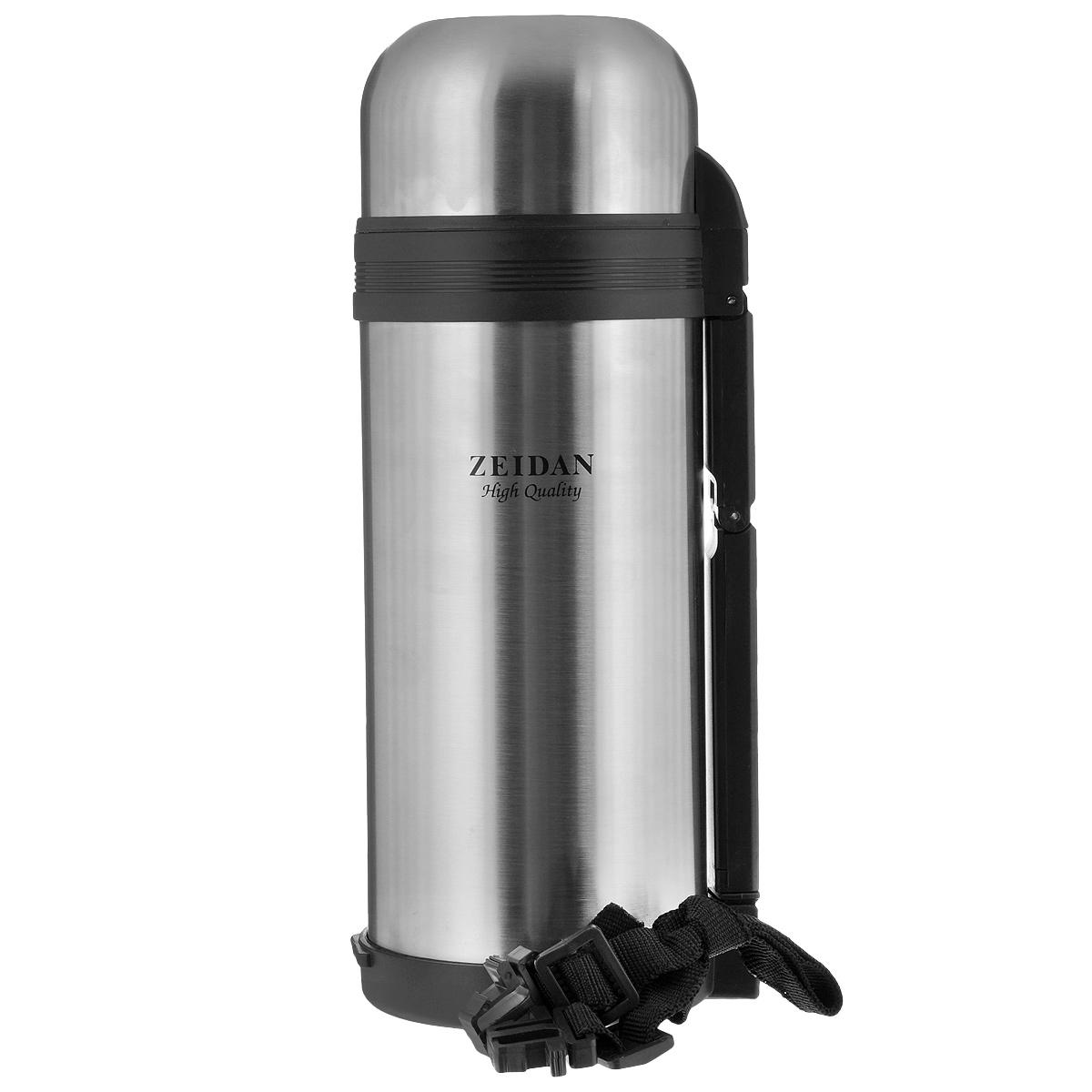 """Термос с универсальным горлом Zeidan """"Sean"""", изготовленный из высококачественной нержавеющей стали и пластика, является простым в использовании, экономичным и многофункциональным. Термос с вакуумной изоляцией предназначен для хранения горячих и холодных напитков (чая, кофе). Изделие укомплектовано пробкой с кнопкой, дополнительной пластиковой чашей и удобной складной ручкой для переноски. Пробка удобна в использовании и позволяет, не отвинчивая ее, наливать напитки после простого нажатия кнопки. Изделие также оснащено крышкой-чашкой. Легкий и прочный термос Zeidan """"Sean"""" сохранит ваши напитки горячими или холодными надолго.Высота (с учетом крышки): 29 см.Диаметр горлышка: 7,5 см. Диаметр основания: 10,5 см."""