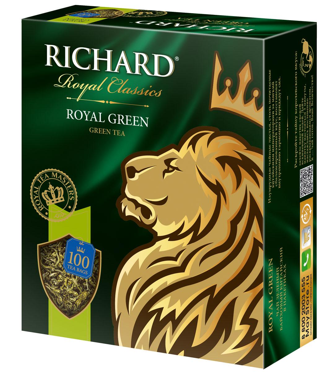 Richard Royal Green зеленый чай в пакетиках, 100 шт610150Richard Royal Green - зеленый байховый китайский чай в пакетиках. Изумрудные чайные листья, столь почитаемые за мягкий сбалансированный вкус, восстановят внутреннюю гармонию и придадут сил.Всё о чае: сорта, факты, советы по выбору и употреблению. Статья OZON Гид