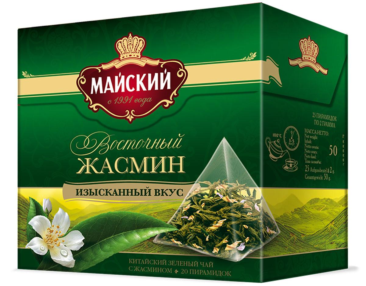 Майский Зеленый Восточный Жасмин зеленый чай в пирамидках, 20 шт майский дачные ягоды черный чай в пирамидках 20 шт