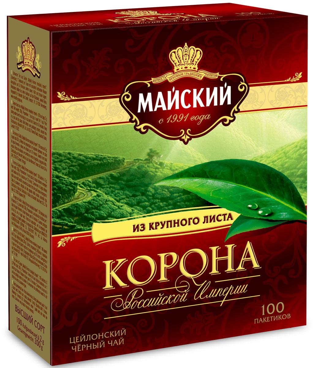 Майский Корона Российской Империи черный чай в пакетиках, 100 шт майский сладкая дыня черный чай в пирамидках 20 шт