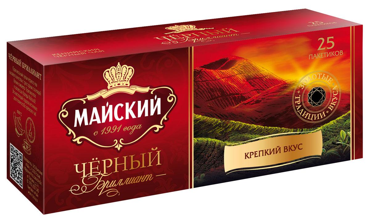 Майский Черный Бриллиант черный чай в пакетиках, 25 шт майский коллекция изысканных вкусов чайное ассорти черный чай в пакетиках 30 шт