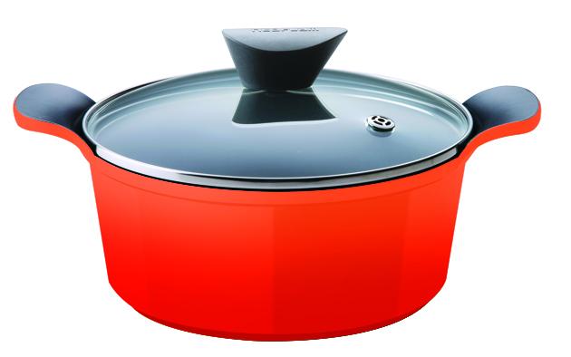 Кастрюля Frybest Orange с крышкой, с керамическим покрытием, диаметр 32 см цена