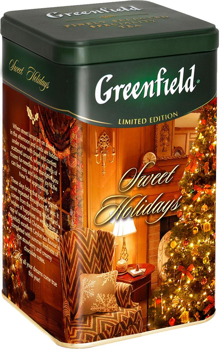Greenfield Sweet Holidays черный листовой чай, 150 г (железная банка)1103-12В Greenfield Sweet Holidays, как в традиционном английском рождественском кексе разноцветные цукаты соседствуют с апельсиновой цедрой, наполняя великолепный букет черного цейлонского чая праздничными оттенками. Идеален для семейного праздничного ужина.