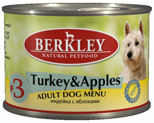 Консервы для собак Berkley №3, индейка с яблоками, 200 г75001Консервы Berkley №3 - полноценное консервированное питание для собак. Не содержат сои, консервантов, искусственных красителей и ароматизаторов. Корм полностью удовлетворяет ежедневные энергетические потребности животного и обеспечивает оптимальное функционирование пищеварительной системы.Товар сертифицирован.