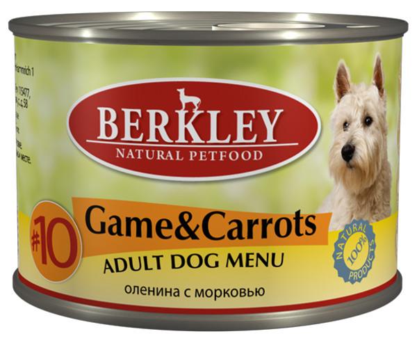 Консервы для собак Berkley №10, оленина с морковью, 200 г75006Консервы Berkley №10 - полноценное консервированное питание для собак. Не содержат сои, консервантов, искусственных красителей и ароматизаторов. Корм полностью удовлетворяет ежедневные энергетические потребности животного и обеспечивает оптимальное функционирование пищеварительной системы.Товар сертифицирован.Чем кормить пожилых собак: советы ветеринара. Статья OZON Гид