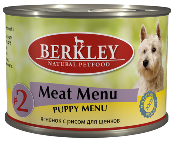 Консервы Berkley Puppy Menu, для щенков, ягненок с рисом, 200 г корм для птиц vitakraft menu vital для волнистых попугаев основной 1кг