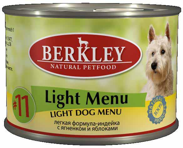 Консервы для собак Berkley Light Menu, индейка с ягненком и яблоками, 200 г консервы для собак clan de file с ягненком 340 г